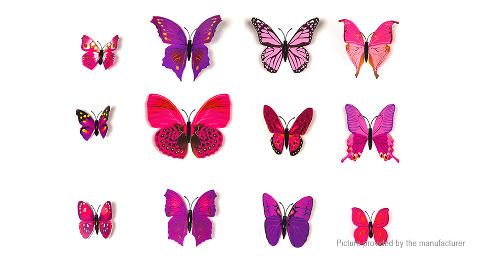 3D Double-layer Butterfly Styled Wall Sticker Home Decor (12 Pieces)