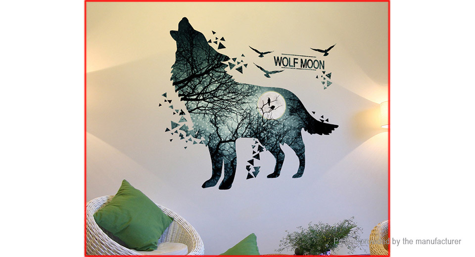 3D Wolf Moon Styled Wall Sticker Home Decor