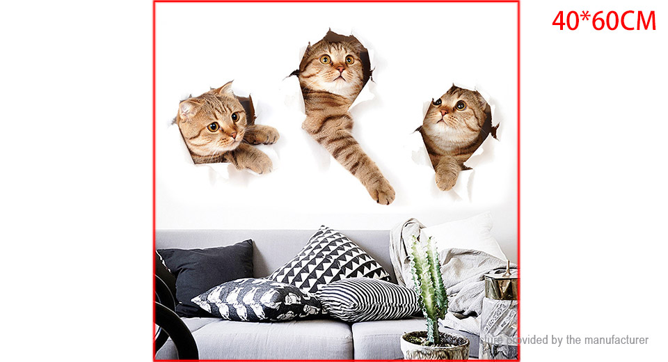3D Three Cat Styled Wall Sticker Home Decor