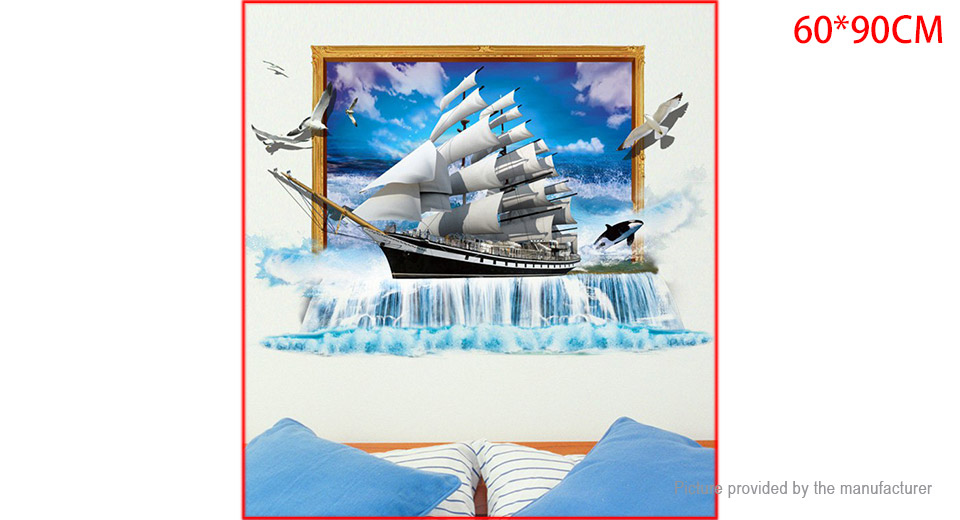 3D Ocean Sailboat Styled Wall Sticker Home Decor
