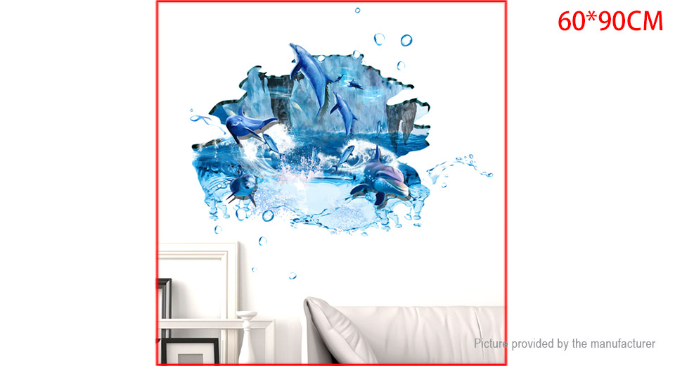3D Jumping Dolphins Styled Wall Sticker Home Decor