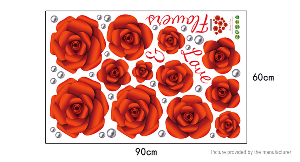 Rose Flower Styled Wall Sticker Home Decor