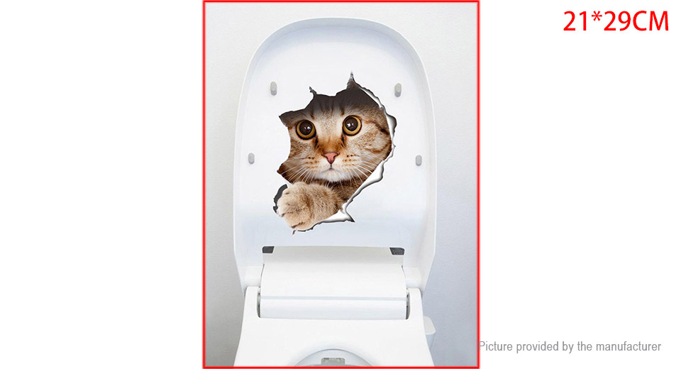 3D Cat Break Wall Styled Wall Toilet Sticker Home Decor