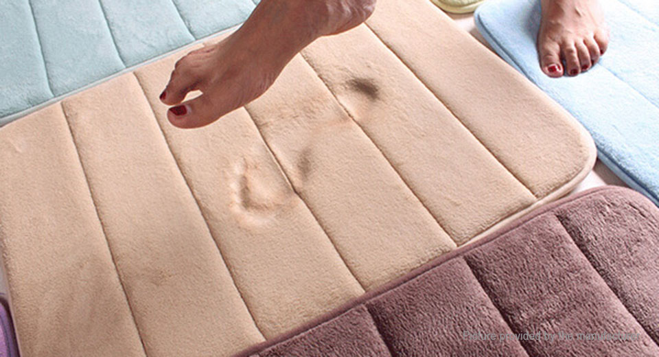 Memory Foam Bath Rug Coral Fleece Bathroom Mat Floor Carpet (40*60cm)