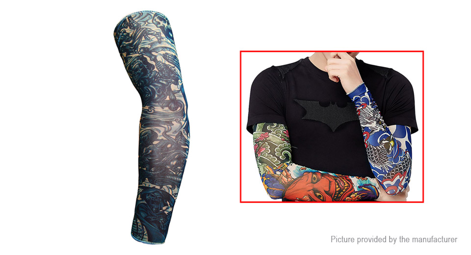 Unisex Outdoor Sports Cycling UV Protection Tattoo Arm Cooling Sleeves (Free Size)