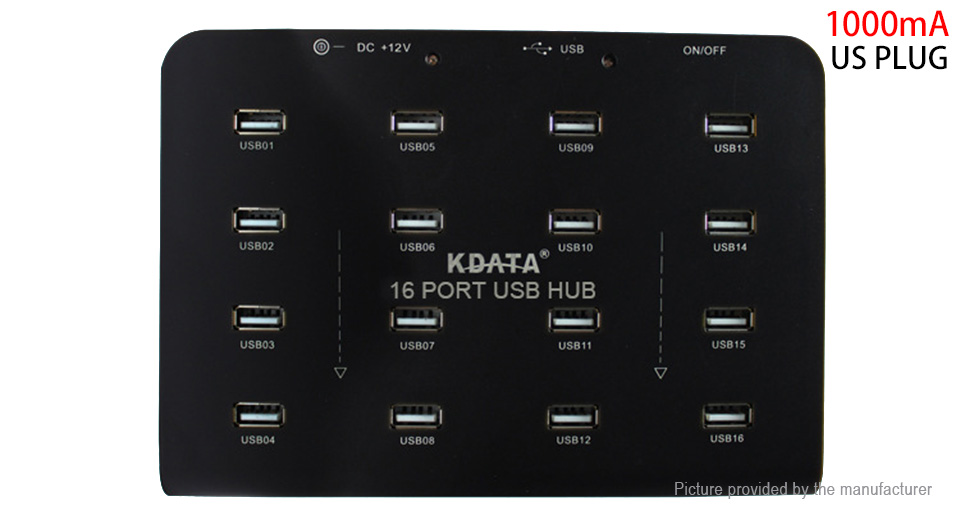 Product Image: kdata-gh-16e-16-port-usb-2-0-hub-us