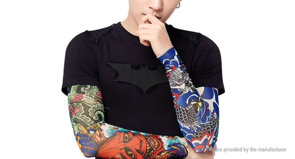 Unisex Outdoor Sports Cycling Tattoo Arm Cooling Sleeves (Free Size/Pair)