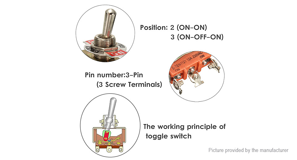 $3.79 E-TEN1121 ON-ON/ON-OFF-ON Toggle Switch (5-Pack) 5-pack - 15A ...