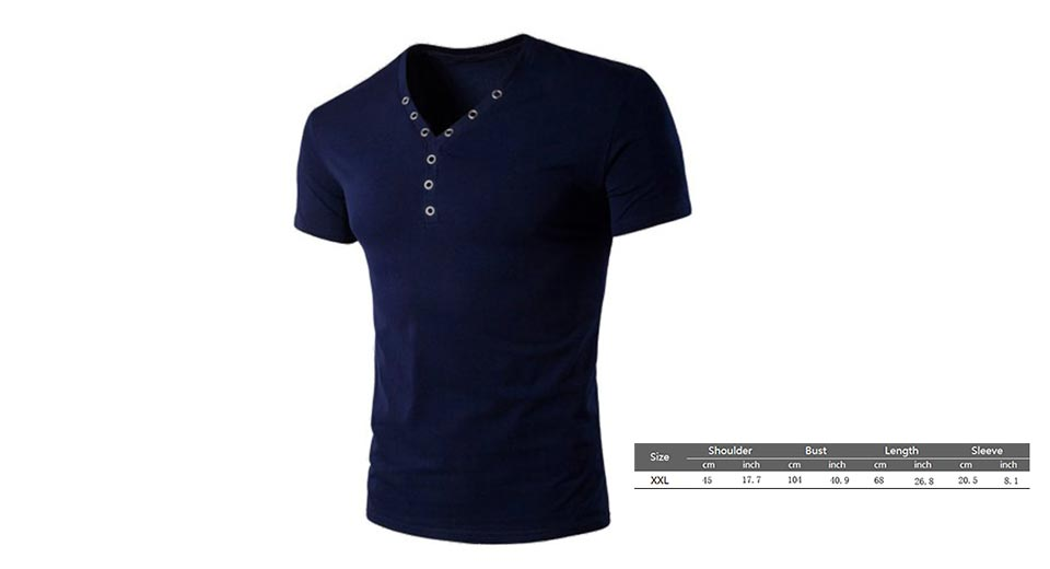 Product Image: men-s-v-neck-eyelet-button-design-short-sleeve-t