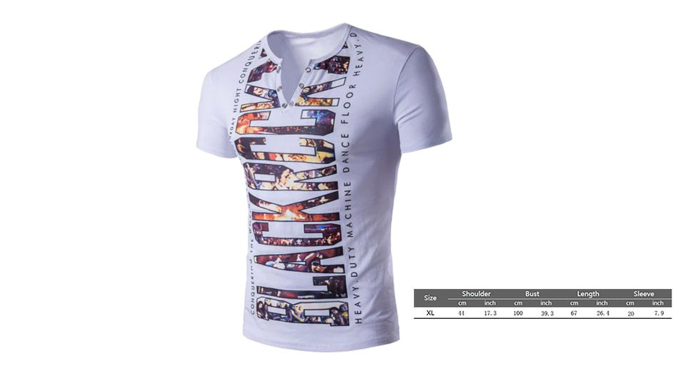 Product Image: men-s-v-neck-graphic-print-eyelet-short-sleeve-t