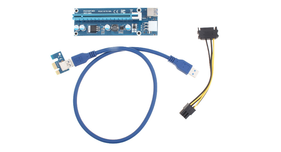 PCIe 1X to PCIe 16X Riser Card Extension Cable Converter for Bitcoin Miner (60cm)