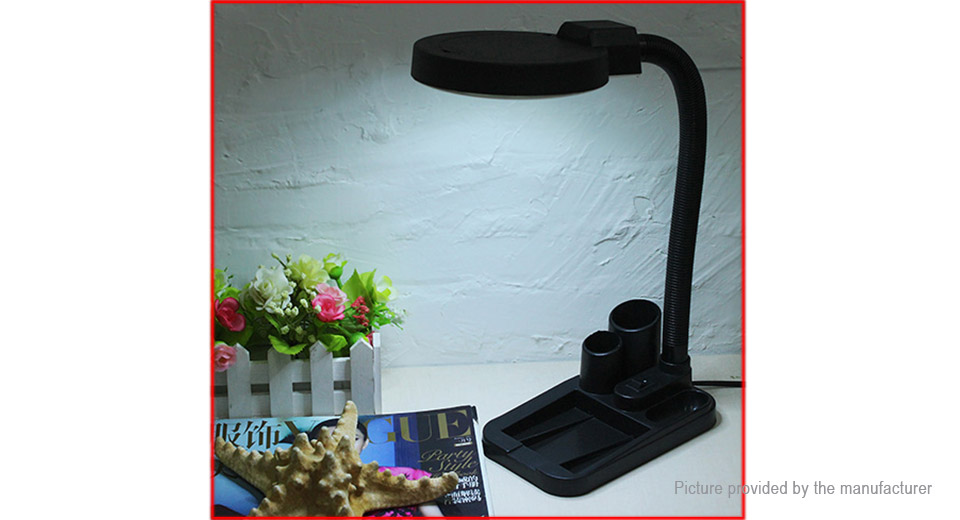 LED Lighting Magnifying Glass Desk Lamp w/ 5X + 10X Magnifier (EU)