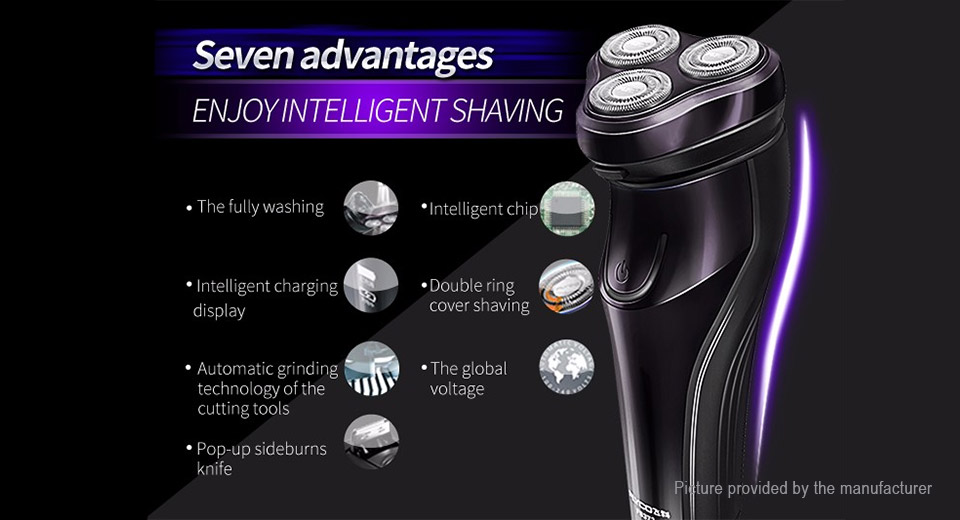 FLYCO FS372 Rechargeable Electronic 3-Head Rotary Shaver