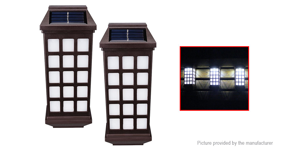 Solar Powered LED Wall Light Garden Fence Path Lamp (2-Pack)