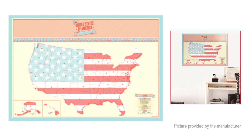 Scratch Off USA Map Poster Scratch Card Travel Vacation Log Gift