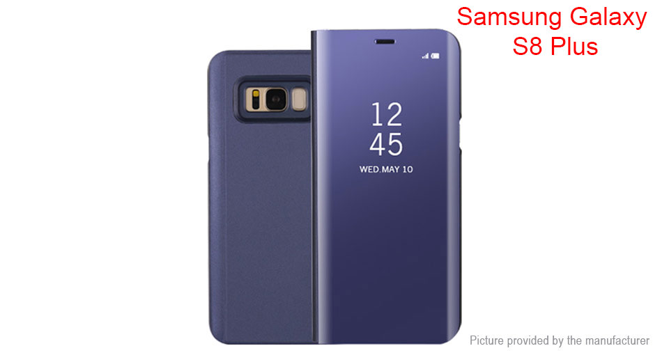 Electroplating Mirror PC Flip-Open Protective Stand Case Cover for Samsung Galaxy S8+