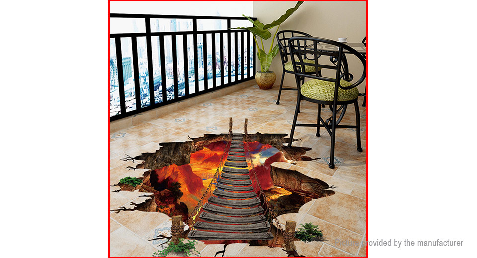3D Volcano Chain Bridge Wall Sticker Home Decor