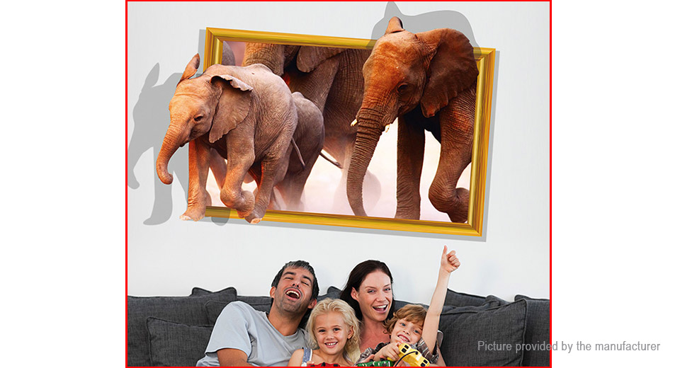 3D Walking Elephant Styled Bedroom Home Background Wall Decor Sticker