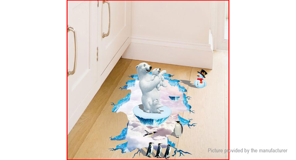 3D Polar Bear Penguin Styled Bedroom Home Background Wall Decor Sticker