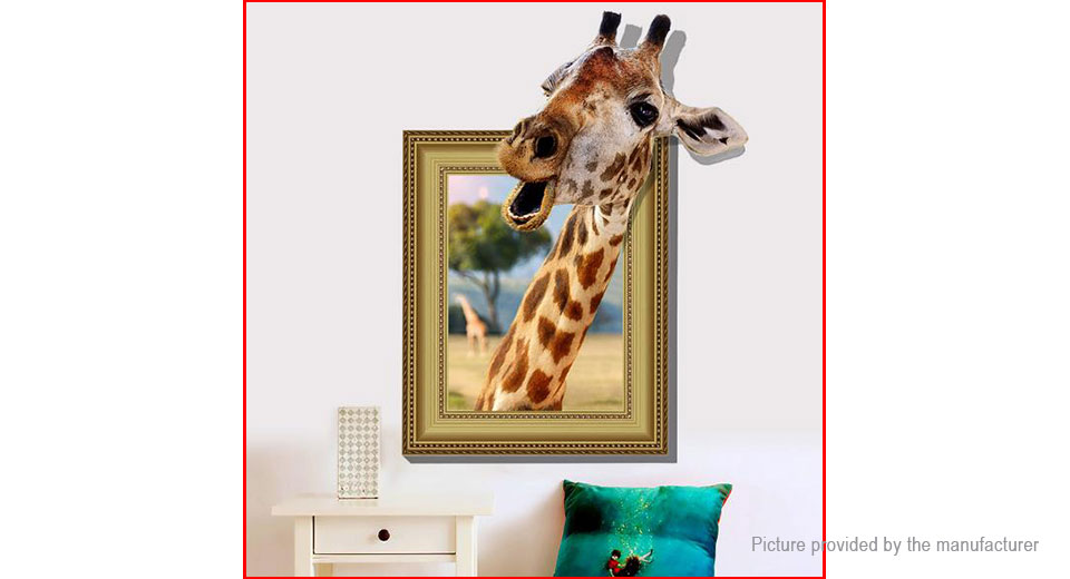3D Giraffe Head Styled Bedroom Home Background Wall Decor Sticker