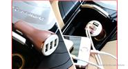 USAMS US-CC007 3-Port USB Car Cigarette Lighter Charger Power Adapter