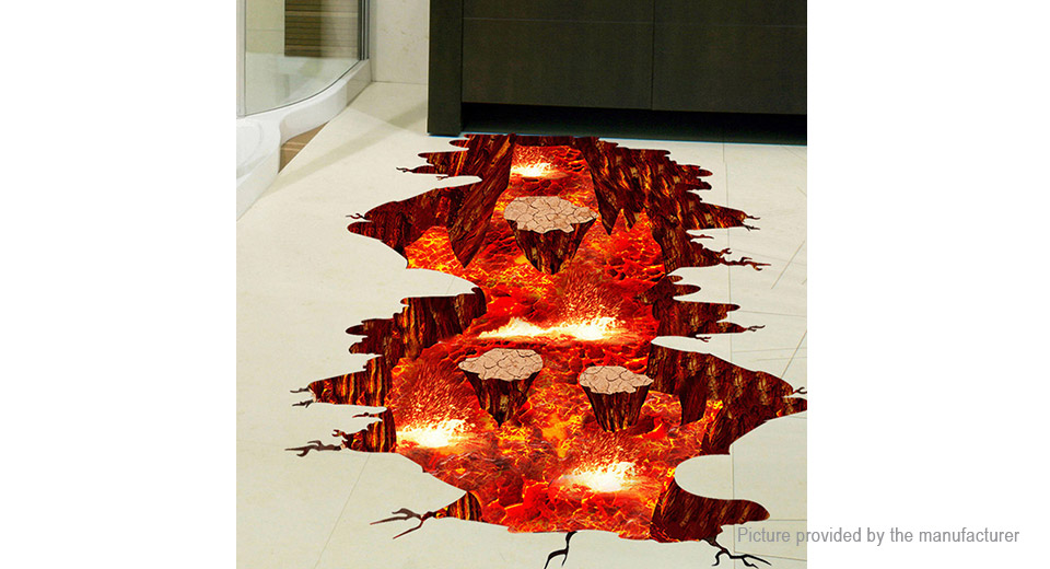 3D Visual Volcano Styled PVC Wall Floor Sticker Home Decor