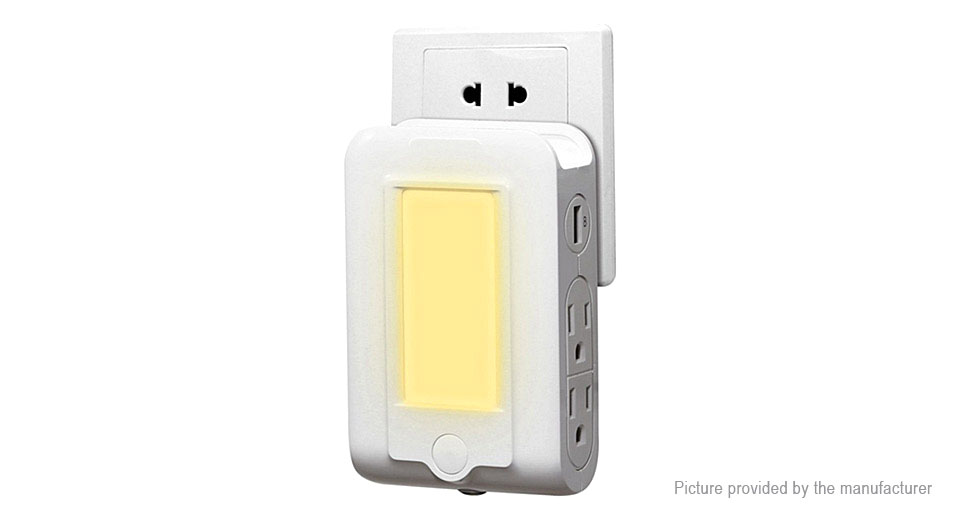 3-in-1 Light Sensor LED Night Light AC Socket Outlet USB Charger
