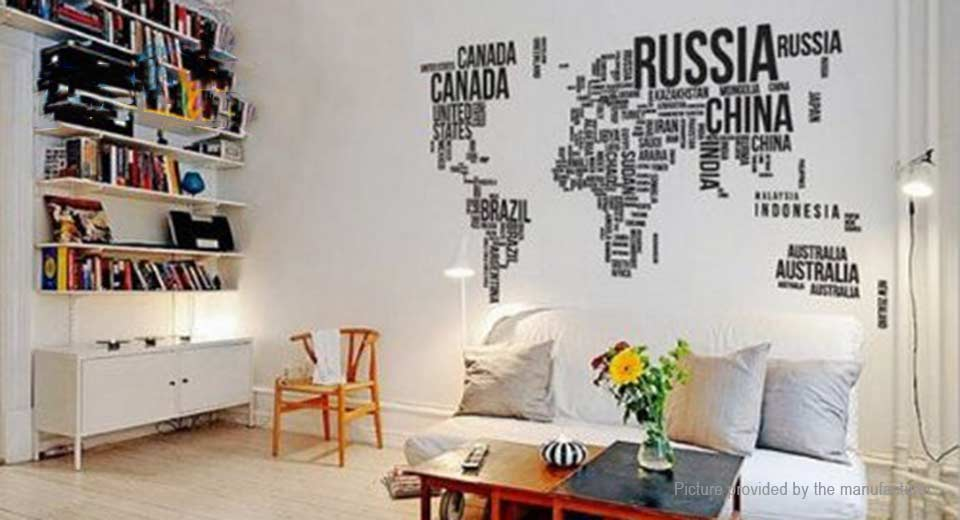 English Letter World Map Styled Wall Background Sticker Home Decor