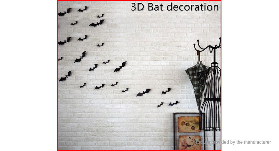 3D Bat Styled Bedroom Home Background Wall Decor Sticker (2-Pack)