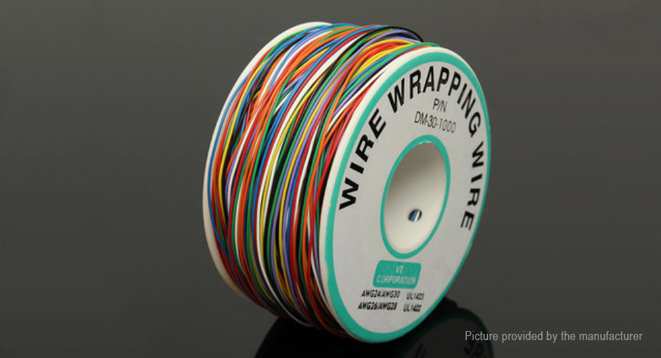 8-Wire Colored Insulated P/N B-30-1000 30AWG Wire Wrapping Cable Wrap Reel