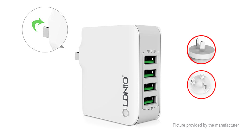 Product Image: ldnio-a4403-4-port-usb-travel-wall-charger-power