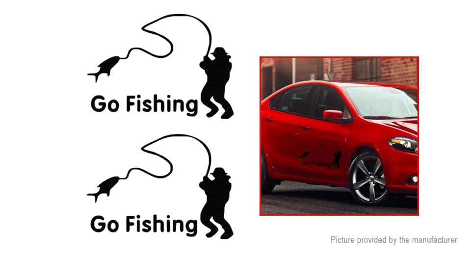 Go Fishing Vinyl Car Window Decal Graphics Sticker (2-Pack)