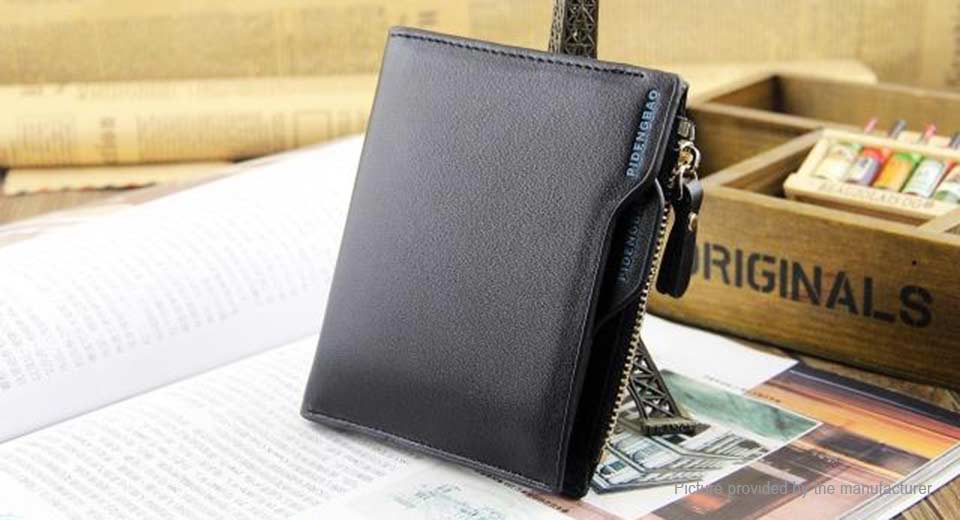 Men's PU Leather Purse Coin Card Holder Short Wallet