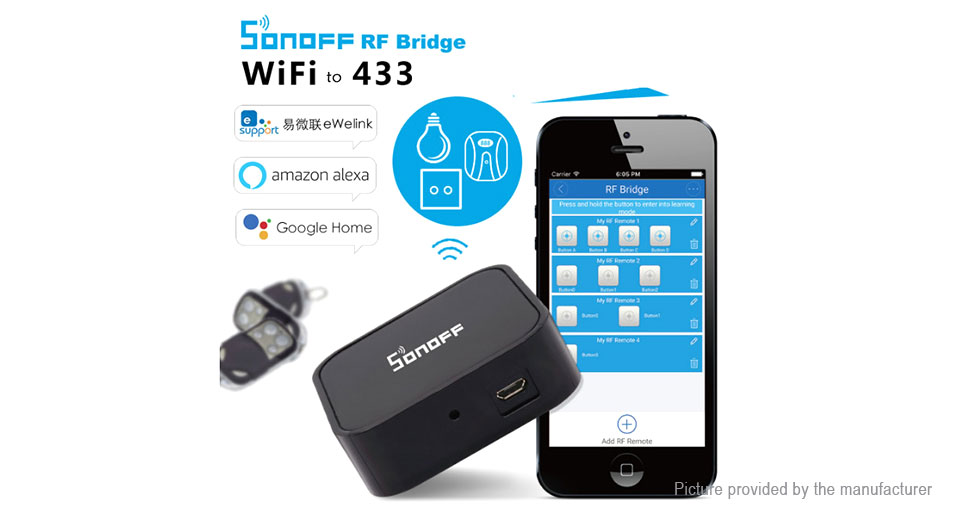 $14 29 Authentic Sonoff RF Bridge 433 433MHz Smart Home Switch - App remote  control at FastTech - Worldwide Free Shipping