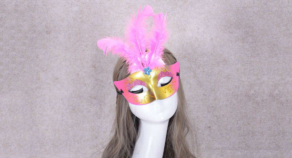 3-LED Light Up Masquerade Party Half Face Mask