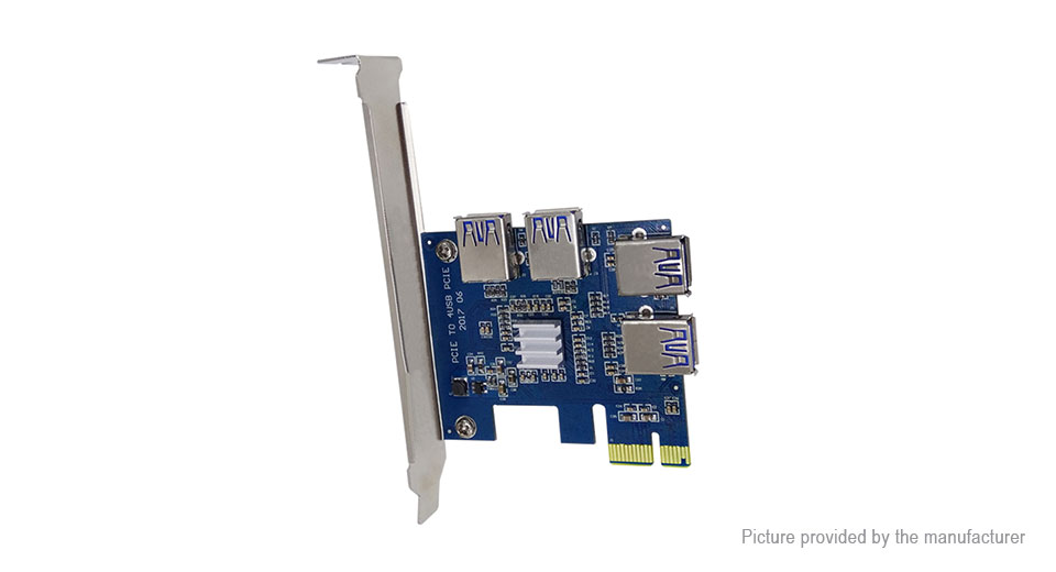 Product Image: pcie-1x-to-4-port-pcie-16x-multiplier-card-for