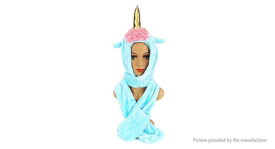 Girls Unicorn Styled Plush Hat Earmuffs Scarf Shawl Gloves Christmas Party Prop