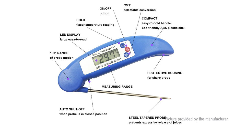 Folding Food Probe Meat Digital Cooking BBQ Thermometer