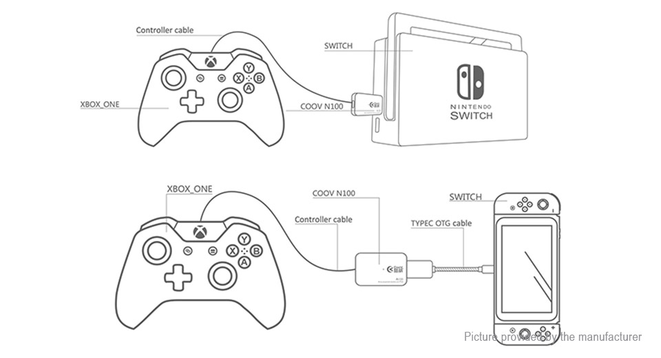 9 68 gamepad converter adapter for nintendo switch - w   usb-c otg cable at fasttech