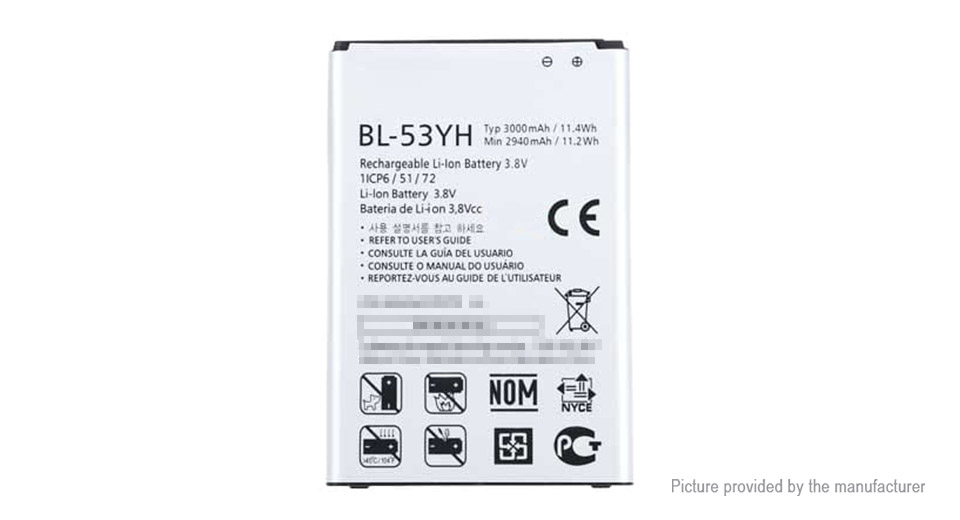 3.8V 3000mAh Replacement Li-ion Battery for LG G3/D855/D857/F400
