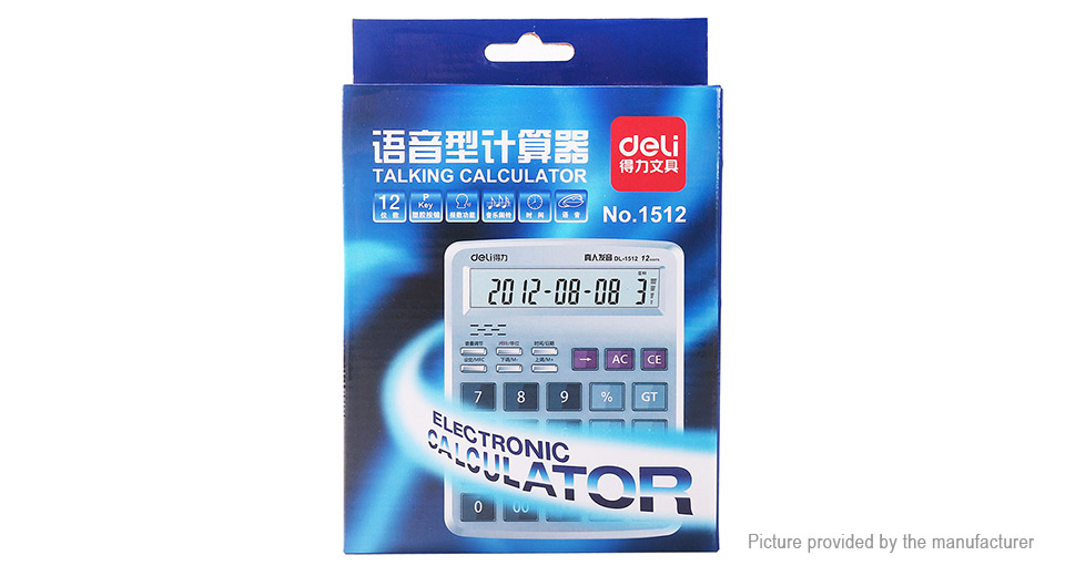 DELI 12-Digit Battery Powered Talking Desktop Calculator