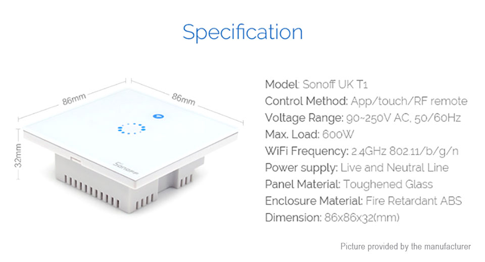 Authentic Sonoff T1 Wifi Smart Wall Switch (UK)