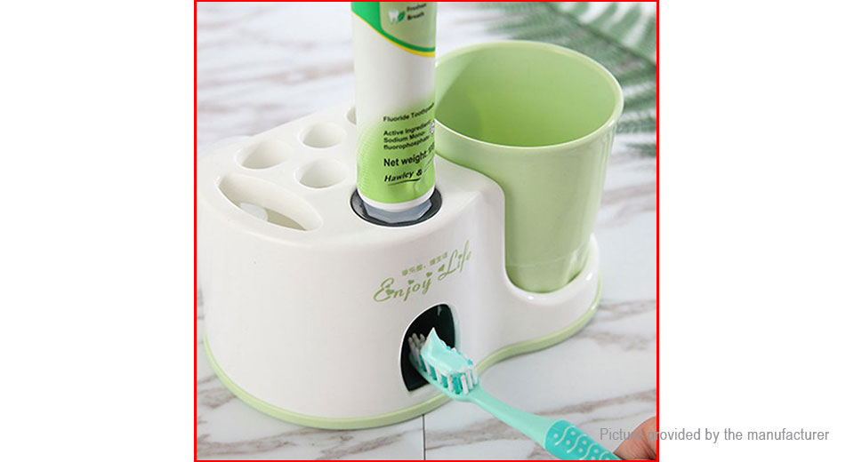 Golden Tree Automatic Toothpaste Dispenser Toothbrush Holder Set