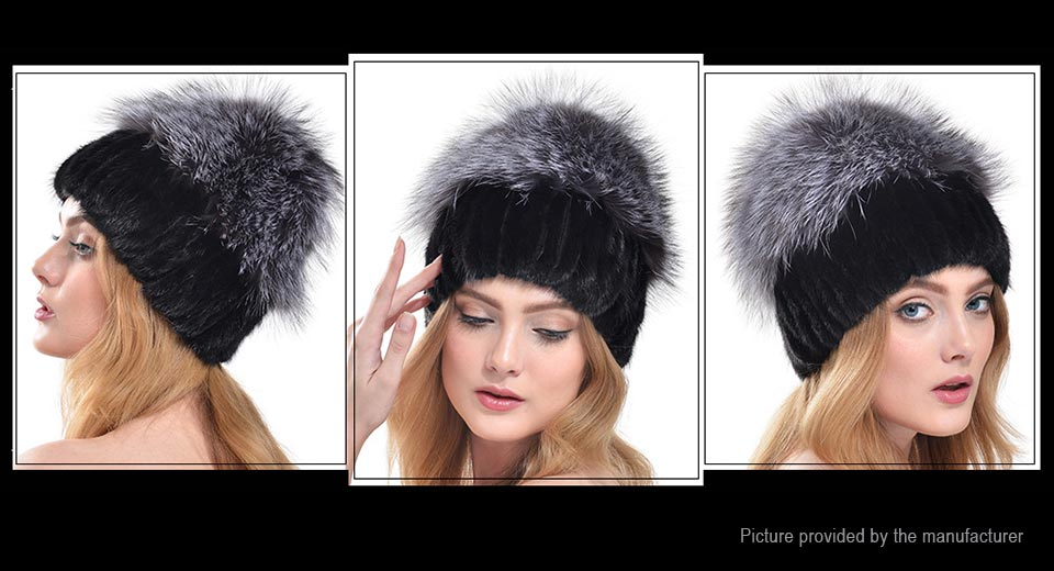 Women's Winter Warm Fox Fur Knitted Beanie Cap Hat