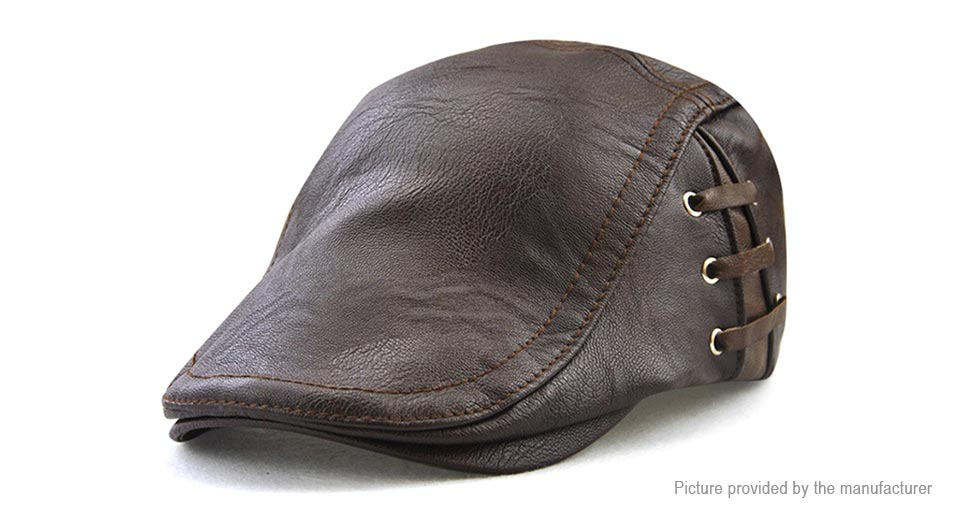 Product Image: jamont-men-s-pu-leather-lace-up-beret-hat-casual