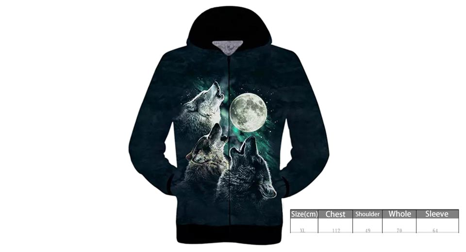 Product Image: men-s-3d-wolves-moon-printed-zip-up-hooded-coat