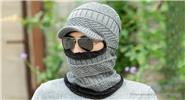 Men's Winter Warm Thickened Knitted Windproof Neck Scarf Beanie Cap