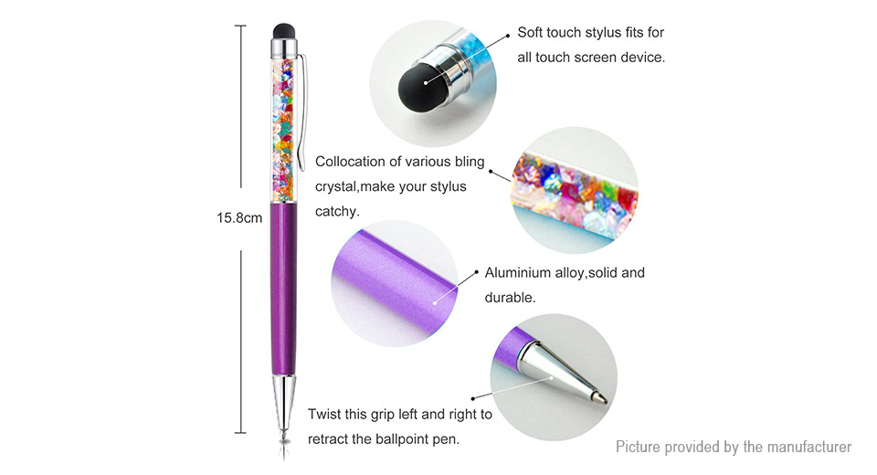 2-in-1 Crystal Capacitive Touch Screen Stylus Ballpoint Pen (10 Pieces)