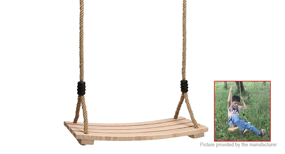 11 65 Children Outdoor Backyard Play Wood Hanging Rope Swing Seat