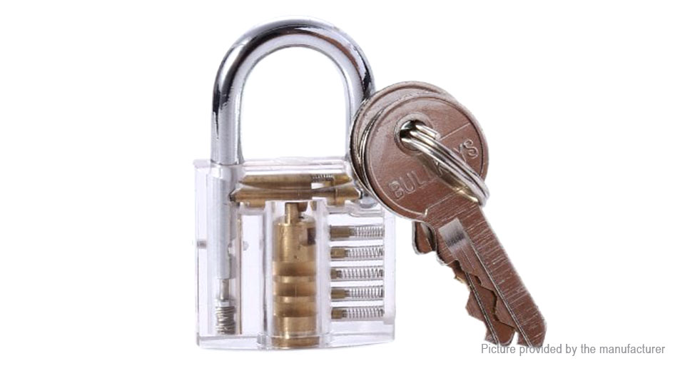 Practice Lock Padlock + Lock Pick Set (10 Pieces)